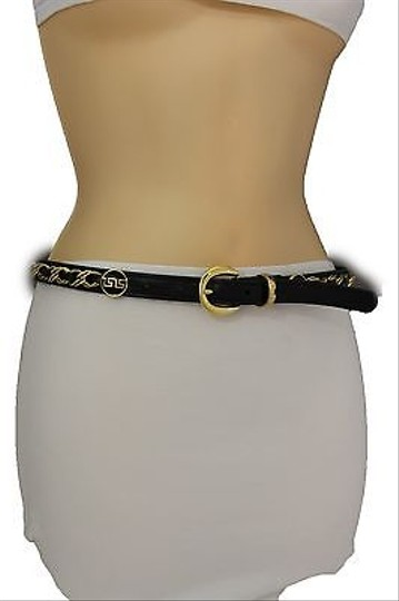Other Women Black Hip Waist Thin Fashion Belt Gold Buckle Chains 25-30 Xss