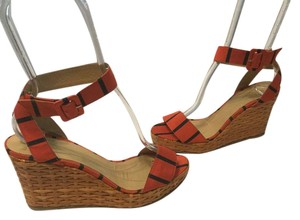 Kate Spade Ankle Strap Polished Made Spain Red and black fabric and wicker Wedges