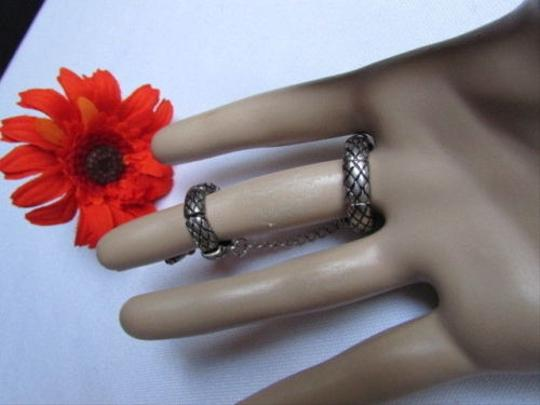 Other Women Silver Metal Elastic Fashion Double Ring Chain Snake Red Rhinestones
