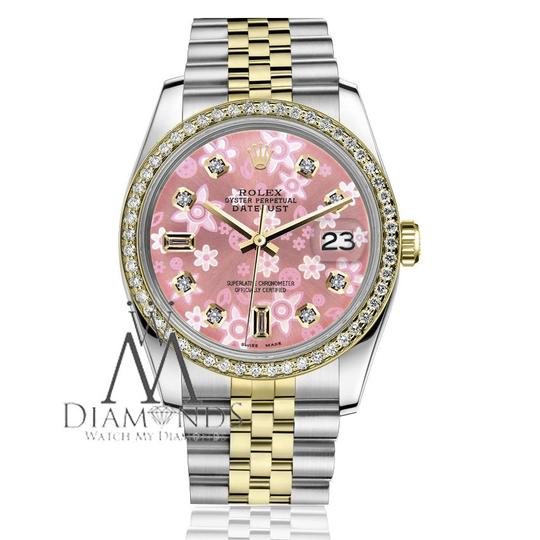 Rolex Men`s 36mm Datejust 2 Tone Glossy Pink Flower Dial 8+2 Diamond Accent