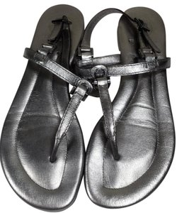 Tory Burch Leather Monogram Metallic Silver Sandals