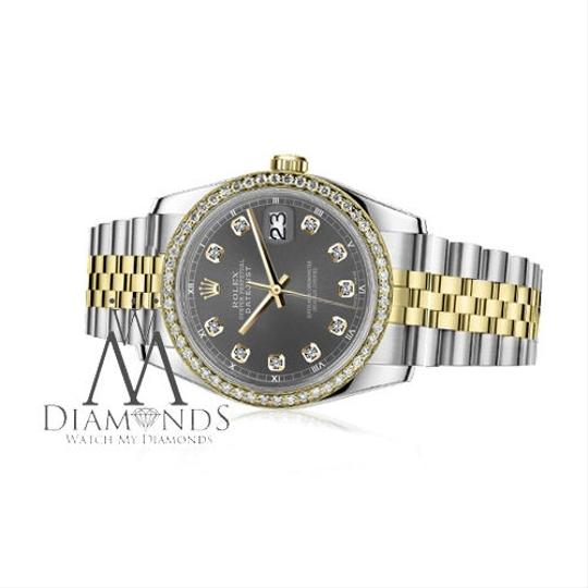 Rolex Ladies 31mm Datejust 2 Tone Dark Grey Color Dial with Diamond Accent