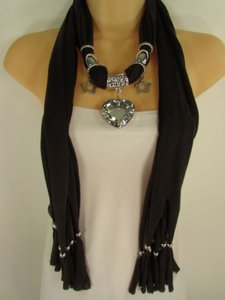 Women Brown Scarf Soft Fabric Fashion Long Necklace Silver Heart Pendant Charm