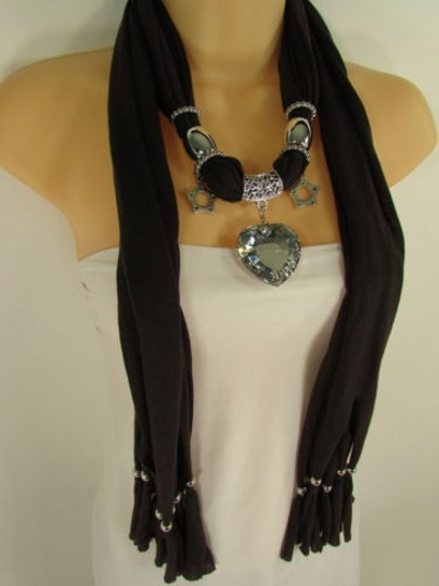Other Women Brown Scarf Soft Long Necklace Silver Heart Pendant Charm