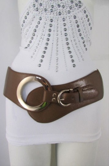 Other Women Brown Black Faux Leather Western Fashion Belt Gold Buckle 27-35