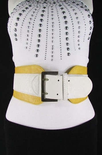 Other Women Yellow White Western Faux Leather Elastic Wide Fashion Belt 27-36