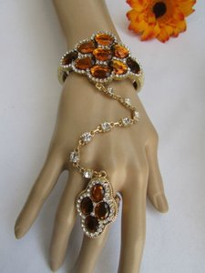 Other Women Gold Cuff Slave Bracelet Hand Chains Ring Brown Clear Rhinestones