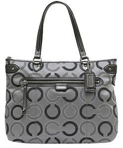 Coach Leather Rare Shimmer Tote in Multi Grey Silver