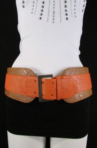 Other Women Beige Orange Western Faux Leather Elastic Wide Fashion Belt 27-36