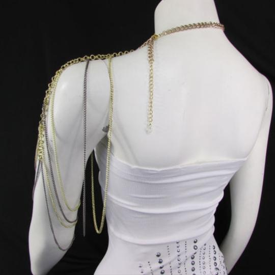 Other Women Gold Pewter Metal Shoulder Chains One Side Jewerly