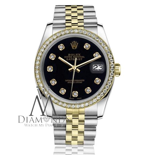 Rolex Ladies 31mm Datejust 2 Tone Black Color Dial with Diamond Accent Watch