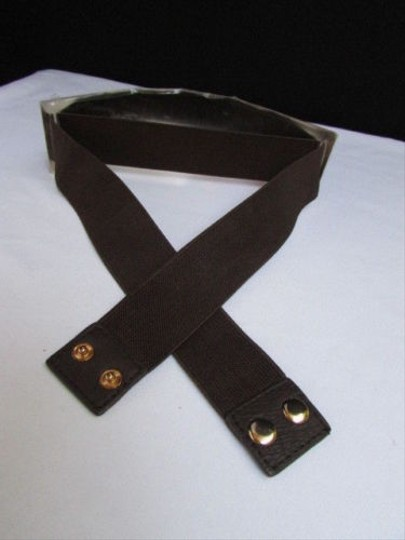 Other Women Waist Hip Wide Gold Metal Plate Belt Dark Brown Elastic 30-40