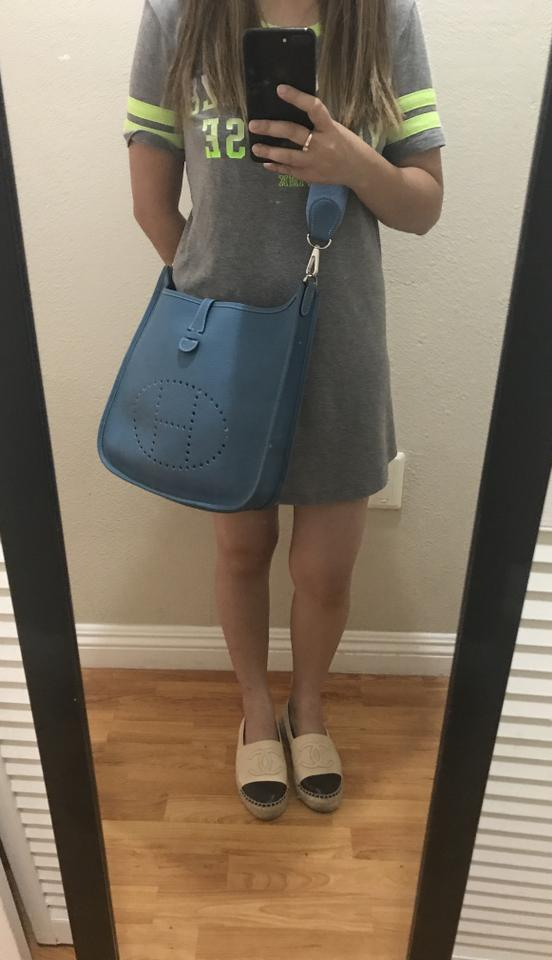 Hermès Taurillon Evelyne Jean Cross Blue Clemence Leather Body Pm Bag rfrIgqaw