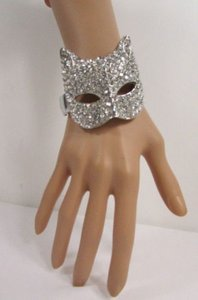 Other Women Metal Big Cat Head Cuff Bracelet Fashion Jewelry Silver Rhinestones