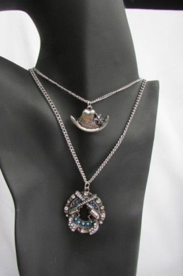 Other Women Western Fashion Necklace Silver Chain Pistoles Cowgirl Hat Strands