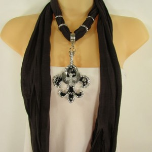 Women Scarf D Brown Fabric Fashion Long Necklace Fleur De Lis Pendant Lily Charm