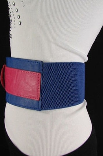 Other Women Cobalt Blue Pink Western Faux Leather Elastic 4 Wide Fashion Belt