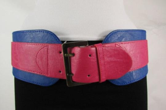 Other Women Pink Blue Western Faux Leather Elastic 4 Wide Fashion Belt 27-36