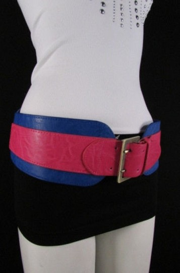 Other Women Pink Blue Western Faux Leather Elastic 4 Wide Fashion Belt 27-36 Image 2