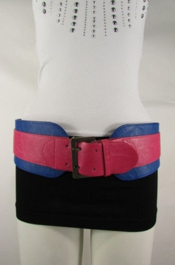 Other Women Pink Blue Western Faux Leather Elastic 4 Wide Fashion Belt 27-36 Image 3