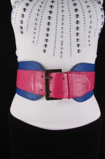 Other Women Pink Blue Western Faux Leather Elastic 4 Wide Fashion Belt 27-36 Image 4
