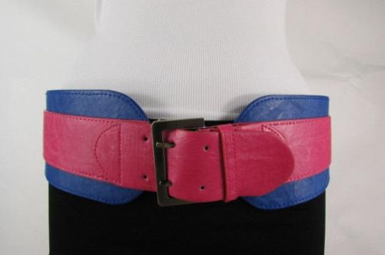 Other Women Pink Blue Western Faux Leather Elastic 4 Wide Fashion Belt 27-36 Image 5
