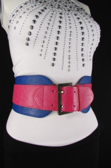Other Women Pink Blue Western Faux Leather Elastic 4 Wide Fashion Belt 27-36 Image 6