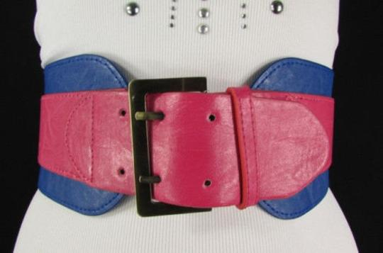 Other Women Pink Blue Western Faux Leather Elastic 4 Wide Fashion Belt 27-36 Image 7