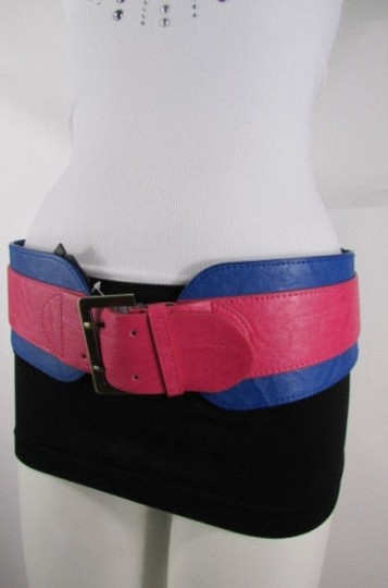 Other Women Pink Blue Western Faux Leather Elastic 4 Wide Fashion Belt 27-36 Image 8