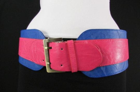 Other Women Pink Blue Western Faux Leather Elastic 4 Wide Fashion Belt 27-36 Image 9