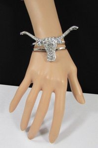 Other Women Fashion Cuff Bracelet Silver Metal Big Bull Horns Jewelry Rhinestones