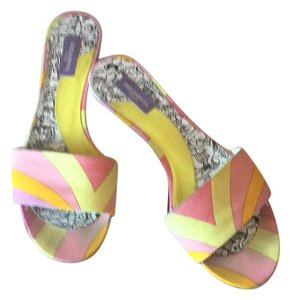 Emilio Pucci Pink and yellow with a silver heel Sandals