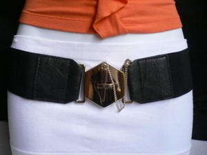 Other Women Elastic Black Fashion Belt Gold Chains Big Cross Buckle 28-36 -