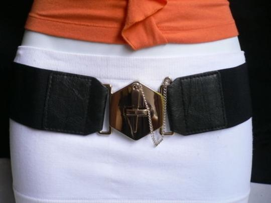 Other Women Elastic Black Fashion Belt Gold Chains Big Cross Buckle