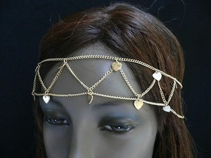 Women Gold Metal Hearts Rows Head Chain Fashion Jewelry Grecian