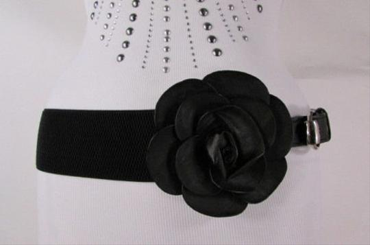 Other Women Black Faux Leather Elastic Fashion Belt Hip Waist Flower 28-37