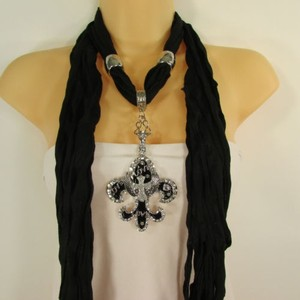 Women Scarf Black Fabric Fashion Long Necklace Fleur De Lis Pendant Lily Charm
