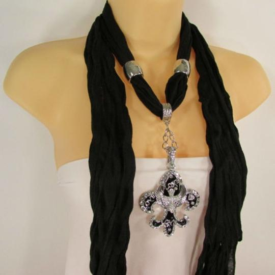 Other Women Scarf Black Long Necklace Fleur De Lis Pendant Lily Charm Image 2