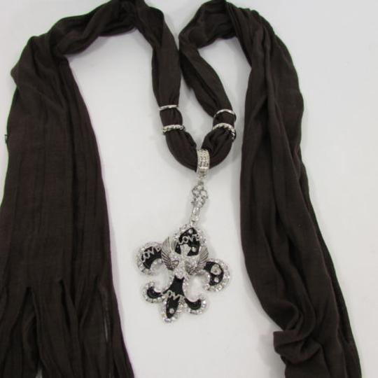 Other Women Scarf Black Long Necklace Fleur De Lis Pendant Lily Charm Image 3