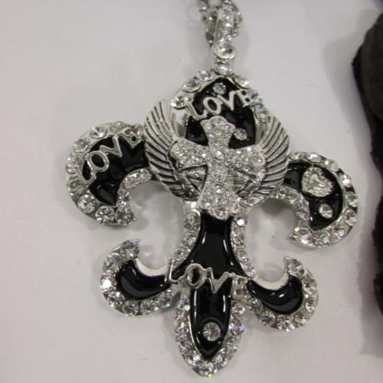 Other Women Scarf Black Long Necklace Fleur De Lis Pendant Lily Charm Image 4