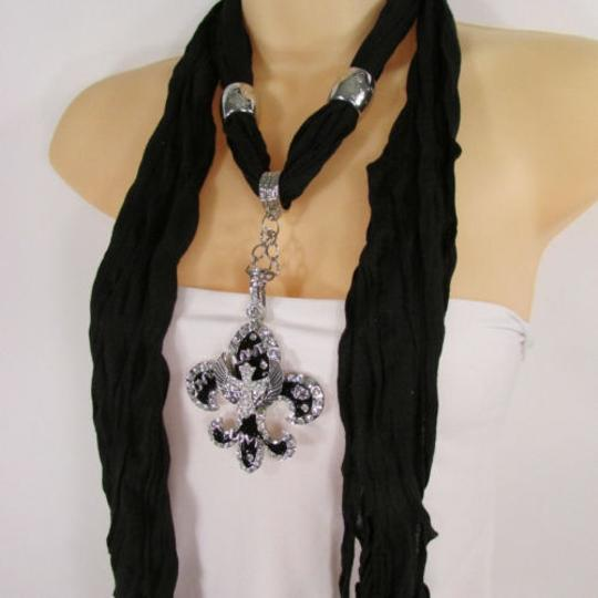 Other Women Scarf Black Long Necklace Fleur De Lis Pendant Lily Charm Image 5