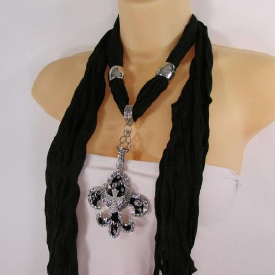 Other Women Scarf Black Long Necklace Fleur De Lis Pendant Lily Charm Image 6