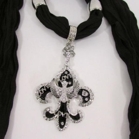 Other Women Scarf Black Long Necklace Fleur De Lis Pendant Lily Charm Image 7