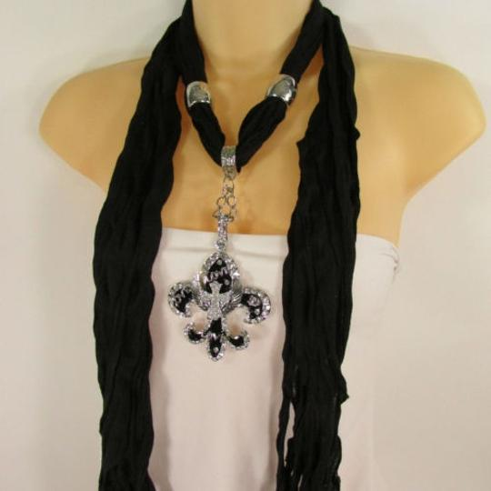 Other Women Scarf Black Long Necklace Fleur De Lis Pendant Lily Charm Image 8