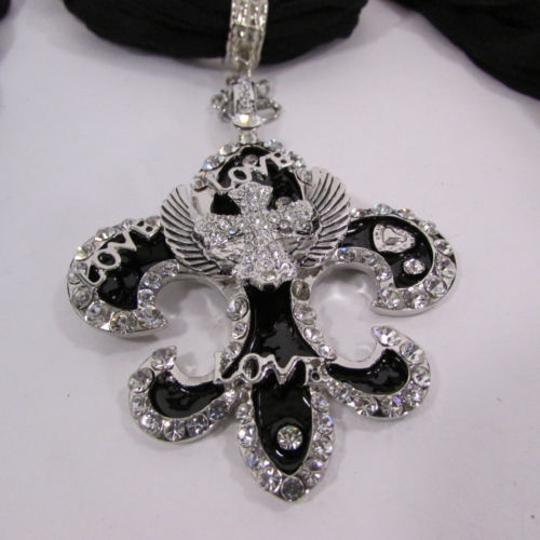 Other Women Scarf Black Long Necklace Fleur De Lis Pendant Lily Charm Image 9