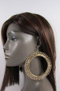 Women Huge 4 Big Chunky Thick Gold Metal Chains Hoop Fashion Earrings Set
