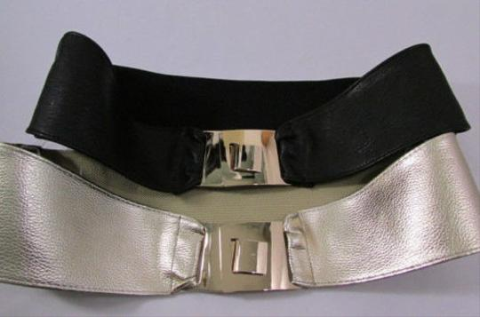 Other Women Black OR Gold Hip Waist Elastic Fashion Belt Buckle 29-33