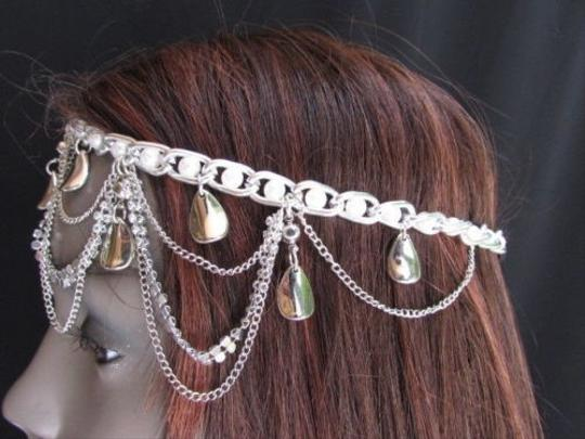 Other Women Silver Mesh Drops Beads Head Chain Moroccan Fashion Jewelry Circlet
