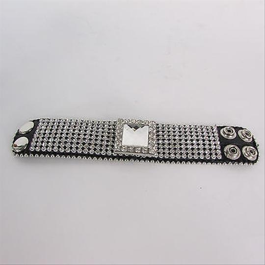 Other Women Silver Square Fashion Belt Black Bracelet Crystal Multi Rhinestones
