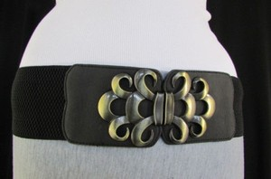 Women Brown Black Gray Elastic Fashion Belt Antique Gold Buckle 26-37